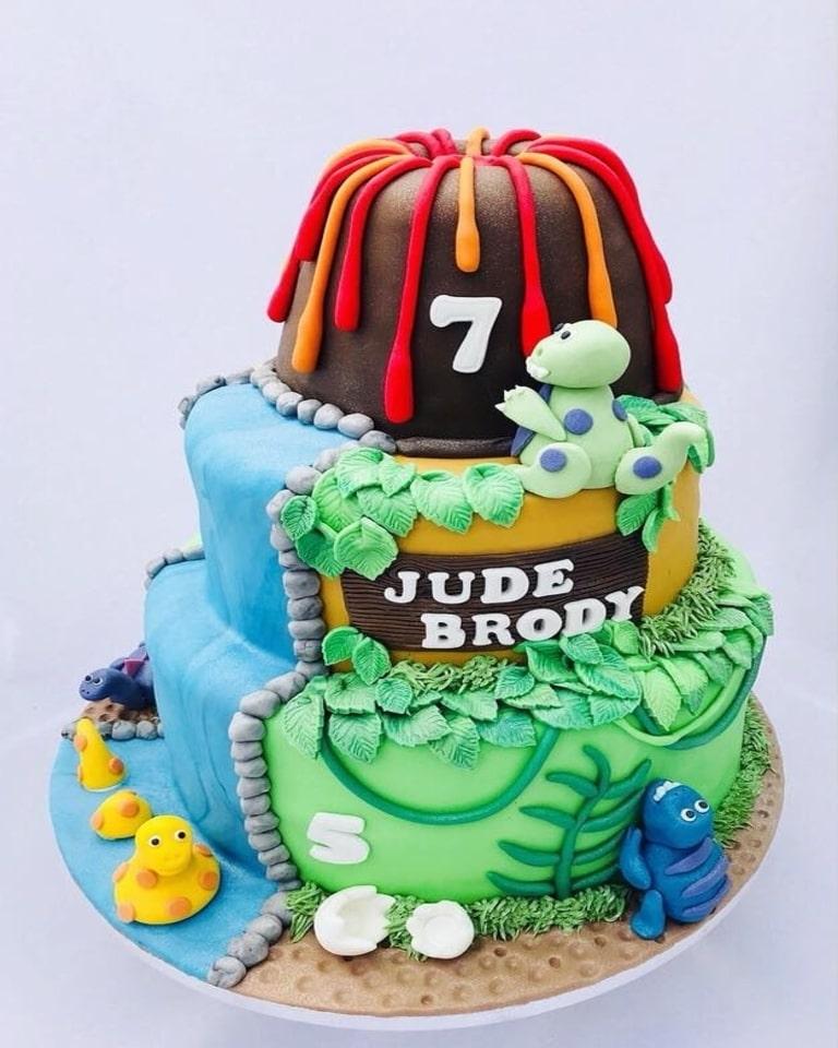 Surprising Dinosaur Volcano Cake Creative Cakes By Jenny Personalised Birthday Cards Veneteletsinfo
